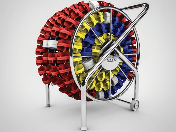 aqueas lane rope storage reel with lane ropes